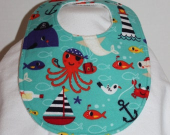 Pirate Sea Creatures Flannel / Terry Cloth Bib