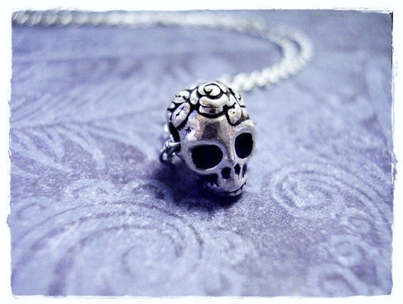 Silver Rose Skull Necklace - Antique Silver Pewter Rose Skull Bead on a Delicate Silver Plated Cable Chain or Bead Only