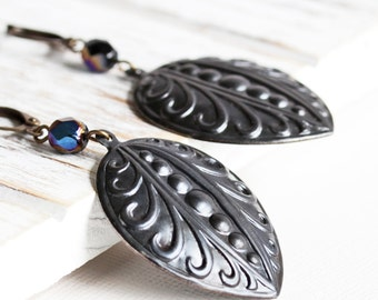 Black Dangle Earrings, Large Drop Earrings on Antiqued Brass Lever Backs, Embossed Petal Earrings, Black Earrings, Boho Chic Jewelry