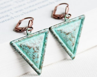 Blue Green Patina Triangle Dangle Earrings on Antiqued Copper Plated Hooks, Hand Patina Jewelry