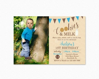 Milk and Cookies Birthday Party Invitation, Blue and Brown, Printable Milk and Cookies Party Invitation, Chalkboard, Printable