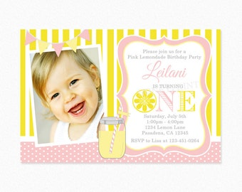 Lemonade Birthday Party Invitation, Pink, Yellow, Girl, Photo Invitation, 1st 2nd Birthday, Personalized, Printable and Printed