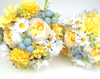 Spring - Yellow and Silver Brunia - Paper Bouquet - Customize your Style and Colors - Made To Order