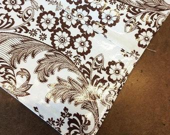 47x60 Oilcloth Tablecloth Toile Brown