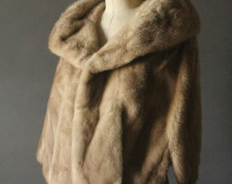 Vintage 50's Blonde Mink Fur Stole Wrap with Satin Lining by Klements