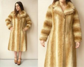 1960's Vintage 3/4 Length Faux Fur Princess Swing Coat Size Medium
