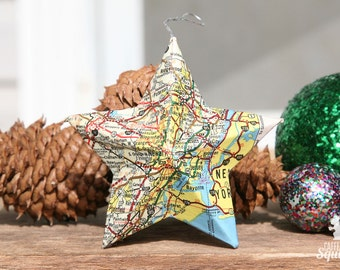 Newark, New Jersey - Vintage Map Covered Star Ornament - NJ, Home Decor, East Coast, Christmas, Map Ornament, Jersey City, NYC, Hoboken