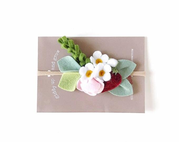 Featured listing image: Summer Felt Flower Headband, Strawberry Children Photo Prop, giddyupandgrow