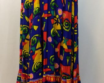 Memphis Design Print Long Skirt // Abstract Geometric Blues Reds Yellows //Ruffled Hem Maxi Frida Skirt