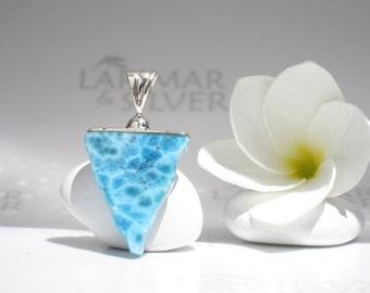 Larimarandsilver pendant, Atlantis Talisman - electric blue Larimar triangle copper inclusion turtleback blue pyramid Larimar choker for men