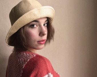 Straw Brim  hat - elegant slouchy Summer Woven straw Romantic Hat