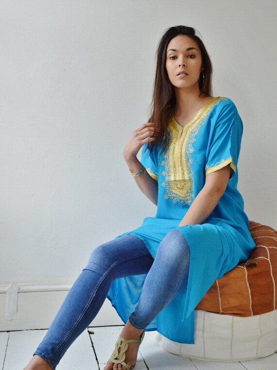 NEW Spring Turquoise Resort Caftan Kaftan Fez-Ramadan, Eid, resortwear,beach coverup,loungewear, maxi dresses, birthdays, hone