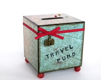 Travel Coin Bank Vacation World Map Decoupaged Wood Square Savings Bank Piggy Bank Vintage Style Map Light Aqua and Red