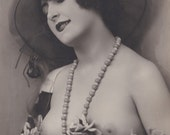 Mireille with Flowers 5, Semi Nude French Postcard by P-C Paris, circa 1920s