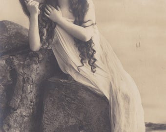 Long-Haired Ethereal Beauty 5, Vintage German Postcard by Rotophot, circa Early 1910s