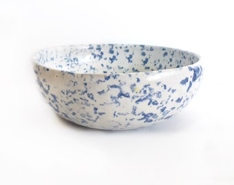 Blue and White Speckelware Serving Bowl, Bybee Pottery of Kentucky
