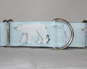 Polar Friends Martingale Dog Collar - 1.5 or 2 Inch - blue sparkling glitter bear penguin winter cold snow wildlife nature
