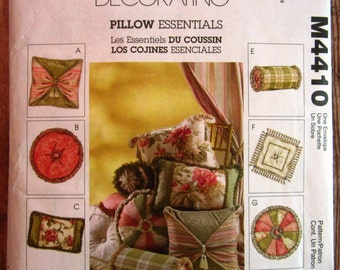 Pillows in 8 Styles McCalls Home Decorating Pattern M4410 UNCUT
