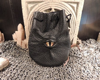 Dragon eye dice bag (Black  leather with Yellow Eye)----New Style-----