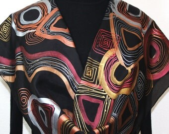 Silk Scarf Black, Bronze, Copper, Gold Hand Painted Silk Shawl BLACK ELEGANCE by Silk Scarves Colorado. Two SIZES. Elegant Silk Gift