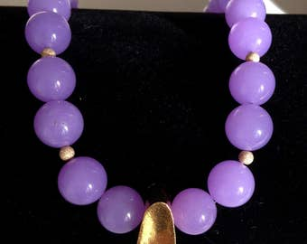 Ashira Dramatic Lavender Purple Jade Statement Necklace, Large Gold Vermeil Focal Station & Swarovski Clasp