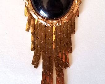 Brooch Pin Vintage Black & Gold Tone Dangle Mesh