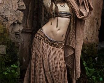 1001 night Dream Block Print gypsy Dancer long skirt Boho Tribal Earthy Natural