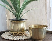 Vintage Set Of Small Brass Planters/Pots