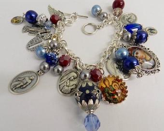 Catholic Charm Bracelet Saints Blessed Mother Glass Tile Pendants Blue Red Beaded   Ornate  Religious Jewelry