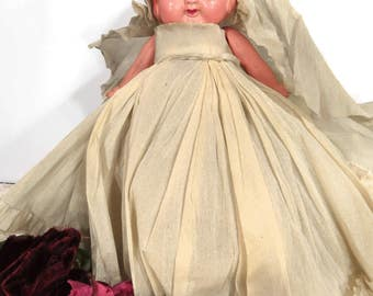 Vintage Googly Eye Celluloid Doll, Long Crepe Paper Dress, Carnival Prize, Kewpie, Flapper