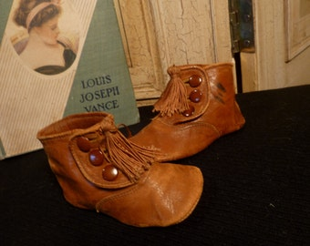 Antique Glove Leather Victorian Baby / Doll Shoes