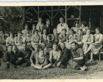Vintage Photo, Students and Teachers Outdoors, School Photo, Black & White, Found Photo, Old Photo, Deckled Edge, German Photo