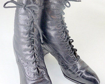 Victorian Black Leather Granny Lace Up Boots