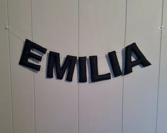 Name Banner / Nursery Decor / Kid's Room Bunting / Baby Shower Decor / Personalized Newborn Gift / Hanging Baby Wall Letters - One Color