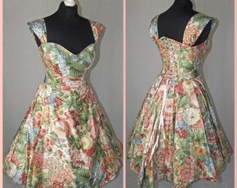 Recycled floral Corset swing dress MADE TO ORDER/ measure.