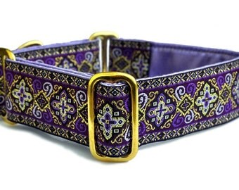 Martingale Dog Collar or Buckle Dog Collar: Nobility Jacquard in Purple - 1.5 Inch