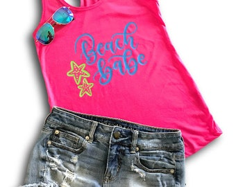 Beach Babe Tank, Southern Top, Southern, Tank, Workout Tank, Beach Life, Summer Tank, Hot Pink Beach Tank