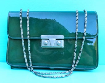 Vintage 1960's/Green Patent Purse with Chain Strap/Dark Green Patent Purse/Meyers/60's Green Purse