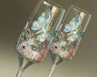 Wedding Glasses, Champagne Flutes, Spring Wedding, Butterfly Wedding, Butterfly Glasses, Hand Painted, Set of 2