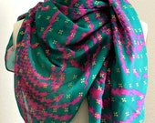 upcycled green and pink floral print sheer sari scarf, square