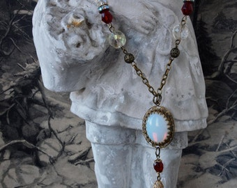 Czech Opaline Glass and Filigree Brass Colier Necklace with Garnet and AB Crystals
