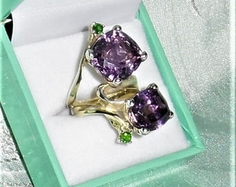 Natural 61 TCW Amethyst gemstones,  14kt yellow gold Ring Size 7