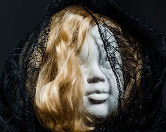 Horror Print -Black Veil, Doll, Creepy Doll, White Face, A3,Horror Scene,Dark Print,Digital Art,Horror Art,Dark Art, Creepy Print