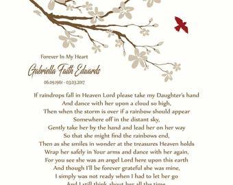 Loss of Daughter-Daughter in Heaven-In Memory of Daughter-Daughter Memorial Print-Sympathy/Condolence Gift-If Raindrops Fall In Heaven Poem