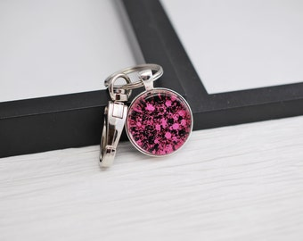 Black and Pink Keychain, Pink Keychain, Pink and Black Keychain, Glitter Keychain, Nail Polish Keychain, Purse Charm, Hot Pink Keychain