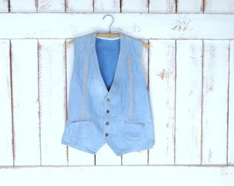 Vintage HIS light blue jean denim vest/chambray vest/fitted button front denim vest