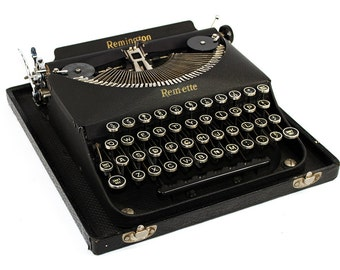 Antique Remington Remette Typewriter with Glass Keys in the Original Case: Fully Serviced Working Typewriter