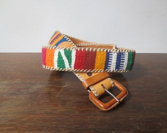 Gorgeous Vintage '70s Leather Woven Guatemalan Belt, 32