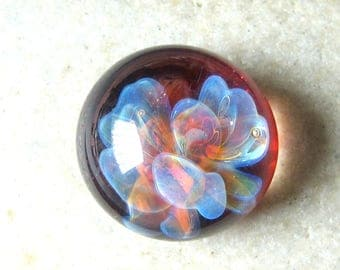 Pixie Dance - Lampwork Cabochon - Boro Glass Implosion - Red Floral Design - 16mm - SRA