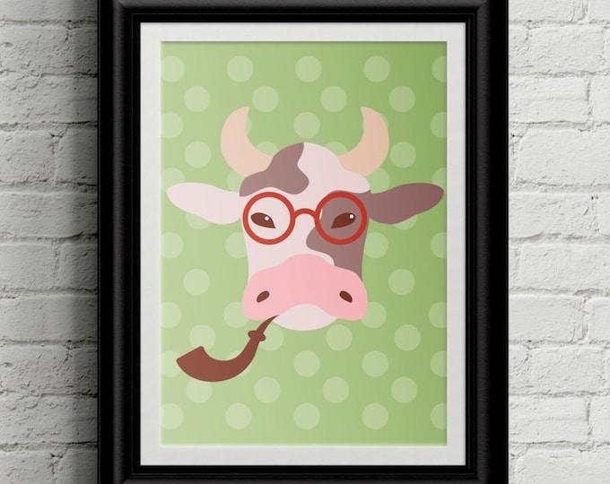 Hipster Baby Cow Themed Kid's Bedroom Wall Art - Hipster -Girls Room Decor - Boys Room Decor - Nursery Decor